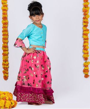 Pikaboo Three Fourth Ruffled Sleeves Choli With Gold Foil Leaves Printed Ghagra - Blue & Pink