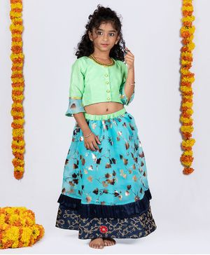 Pikaboo Three Fourth Ruffled Sleeves Choli With Gold Foil Leaves Printed Ghagra - Blue & Green