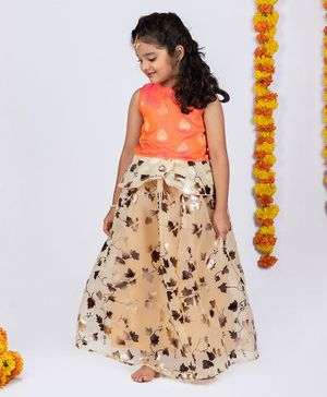 Pikaboo Sleeveless Peplum Brocade Choli With Gold Foil Leaf Printed Ghagra - Orange & Yellow