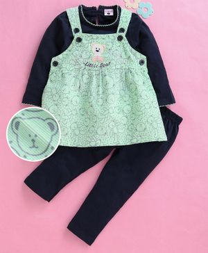 U R Cute Full Sleeves Tee With Teddy Print Dress & Leggings Set - Green