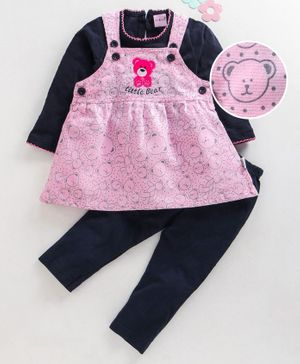 U R Cute Full Sleeves Tee With Teddy Print Dress & Leggings Set - Pink