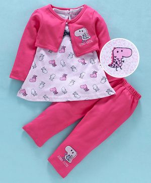 U R Cute Full Sleeves Jacket With Baby Dino Print Dress & Leggings - Pink