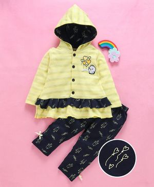 U R Cute Full Sleeves Dress With Happy Print Leggings - Navy Blue & Yellow