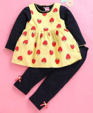 U R Cute Sleeveless Strawberry Print Dress With Tee & Leggings - Yellow