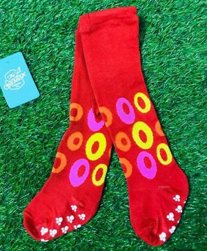 The Sandbox Clothing Co Ring Printed Footed Elasticated Stockings - Red