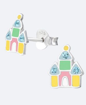 Aww So Cute House Design 925 Sterling Silver Earrings - Multicolor