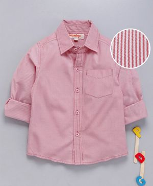 Hugsntugs Self Striped Full Sleeves Shirt - Light Pink