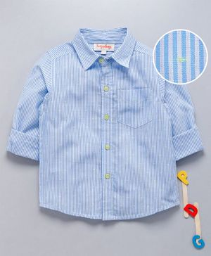 Hugsntugs Striped Full Sleeves Neon Green Detailing Shirt - Light Blue