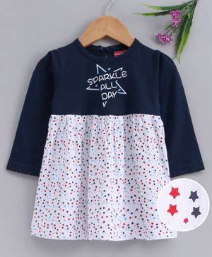 Babyhug 100 % Cotton Full Sleeves Frock Star Print - Navy Blue White