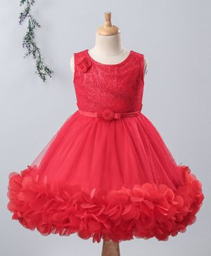 Bluebell Party Wear Sleeveless Frock Floral Motifs - Red
