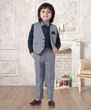 Robo Fry Full Sleeves Shirt With Trouser & Bow Mock Waistcoat Design - Navy