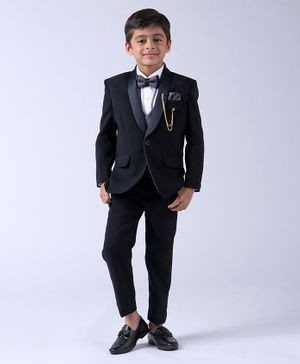 Robo Fry Full Sleeves 4 Piece Party Wear Suit With Bow - Navy