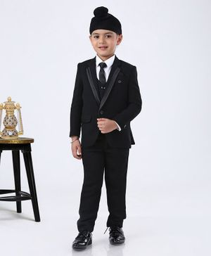 Robo Fry Full Sleeves 4 Piece Party Suit with Tie - Black