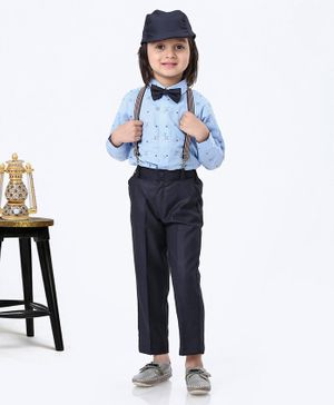 Robo Fry Party Wear Full Sleeves Suit With Suspenders Bow And Cap - Light & Navy Blue