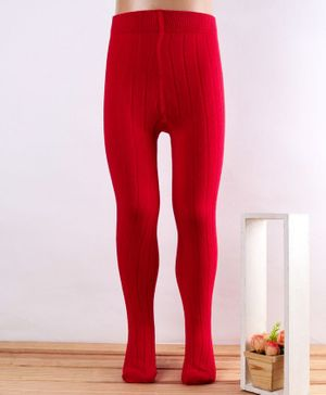 Mustang Footed Tights Self Design -Red