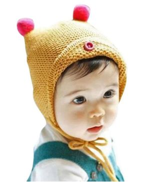 Ziory Winter Wear Knitted Baby Cap - Yellow