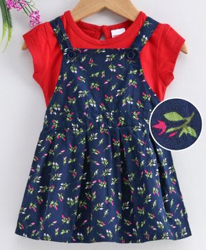 Babyhug Frock With Short Sleeves Inner Tee Floral Print - Navy