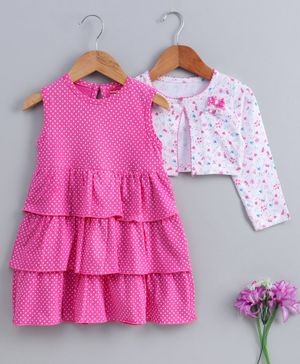 Babyhug Frock With Full Sleeves Jacket Polka Dots Print - Pink