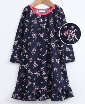 Crayonflakes Full Sleeves Floral Print Night Dress - Navy Blue