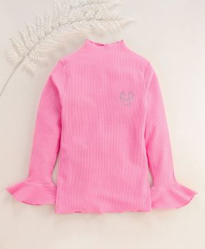 Stupid Cupid Bow Design Rib Knit Ruffled Full Sleeves Top - Light Pink