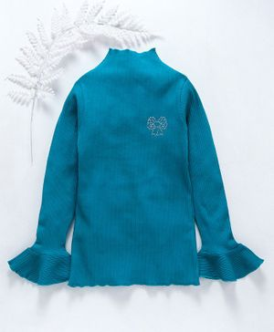 Stupid Cupid Bow Design Rib Knit Ruffled Full Sleeves Top - Blue