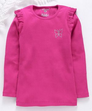 Stupid Cupid Butterfly Design Rib Knit Full Sleeves Top - Pink