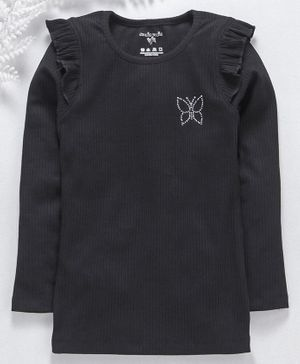 Stupid Cupid Butterfly Design Rib Knit Full Sleeves Top - Black