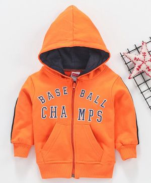 Babyhug Full Sleeves Hooded Sweat Jacket Champs Print - Orange