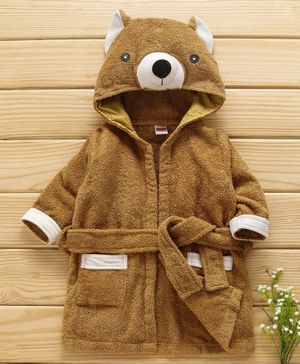 Babyhug Full Sleeves 3D Hooded Bath Robe Animal Design - Brown