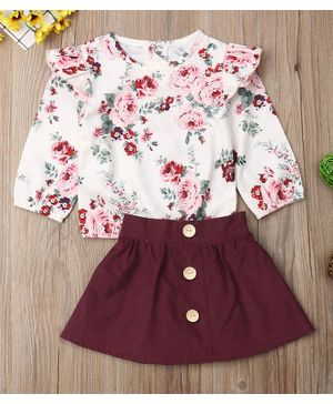 Pre Order - Awabox Rose Printed Full Sleeves Top With Skirt - White & Maroon
