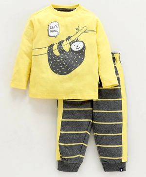 Babyoye Full Sleeves Night Suit Stripe & Sloth Print - Yellow Grey