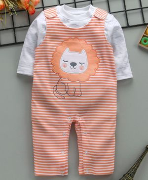 ToffyHouse Striped Romper With Full Sleeves Inner Tee Lion Patch - Orange