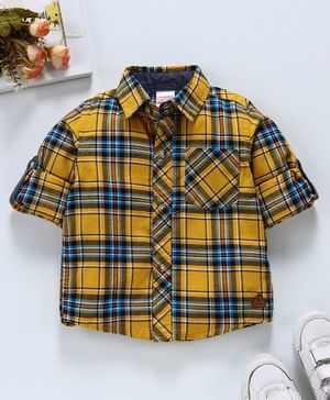 Babyhug Full Sleeves Check Shirt - Yellow