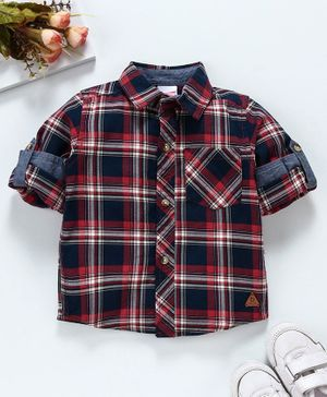 Babyhug Full Sleeves Check Shirt - Red Navy Blue