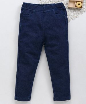Fox Baby Full Length Denim Jeggings - Dark Blue