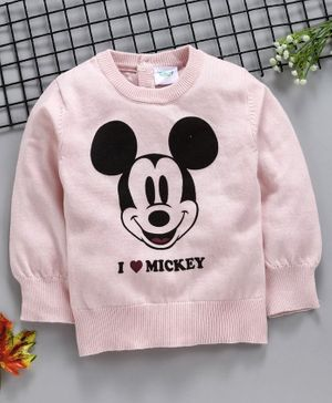Fox Baby Full Sleeves Sweater Mickey Mouse Print - Pink