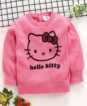 Fox Baby Full Sleeves Sweater Hello Kitty Print - Pink