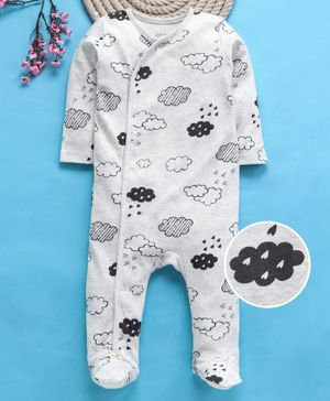 Fox Baby Full Sleeves Footed Romper Cloud Print - Light Grey