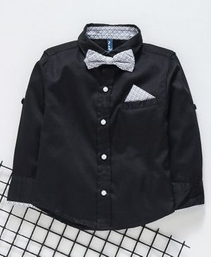 Play by Little Kangaroos Full Sleeves Shirt With Bow & Pocket Square  - Black