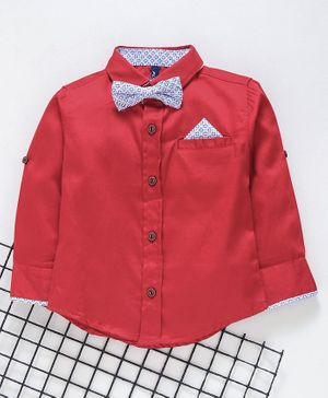 Play by Little Kangaroos Full Sleeves Shirt With Bow & Pocket Square - Red
