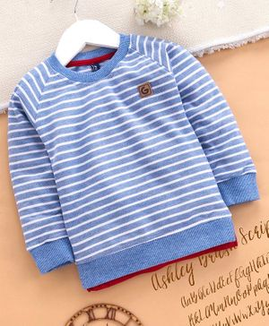 Little Kangaroos Full Sleeves Striped Tee - Blue