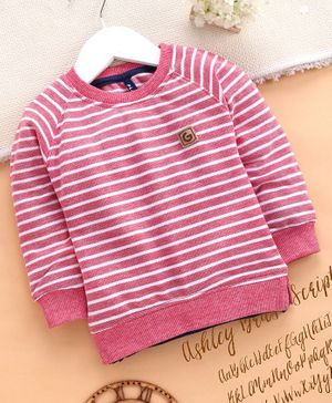 Little Kangaroos Full Sleeves Striped Tee - Pink