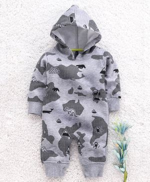 Play by Little Kangaroos Full Sleeves Hooded Romper Animal Print - Grey