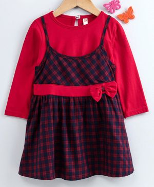 Dew Drops Checked Frock With Full Sleeves Inner Tee - Red Navy