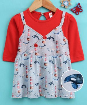 Dew Drops Full Sleeves Frock Dolphin Print - Grey