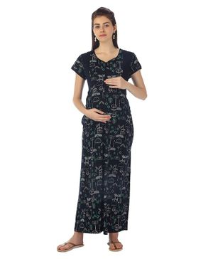 Kriti Half Sleeves Maternity & Nursing Night Gown Floral Print - Black
