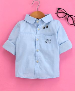 Lekeer Kids Full Sleeves Solid Color Shirts - Blue