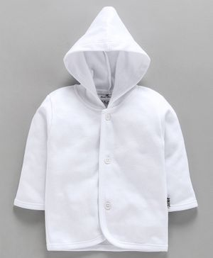 Child World Full Sleeves Hooded Vest - White