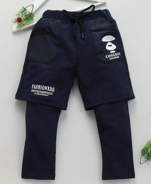 Lekeer Kids Full Length Trouser With Attached Shorts - Navy Blue