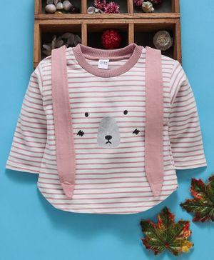 Meng Wa Full Sleeves Top Striped - Pink